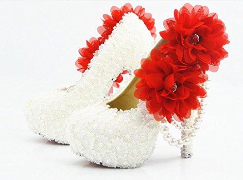 YCMDM Femmes Chaussures De Mariage De Grande Taille Ultra Haut Avec Rondes Chaussures De Mariage Chaussures Chaussures De Mariage De La Demoiselle D'honneur Chaussures Dentelle Blanche Fleur De Fleur  14 cm with high reservation