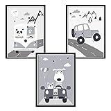 luvel - 3er Set Poster für Kinderzimmer und Bilderrahmen, Kinderposter, Babyzimmer Bilder, Baby Bilder, Dekoration Kinderzimmer, graue Autos (P50)