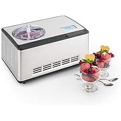 Klarstein Dolce Bacio • Machine à crème glacée • Sorbetière à compresseur • Glaces, sorbets, yaourts • Pack thermique 2L • Ecran tactile LCD • Minuterie • Acier inoxydable • Argent