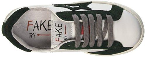 Fake By Chiodo Kinder-Unisex Low F 831 Niedrige Sneaker Bianco (Bianco/Verde)