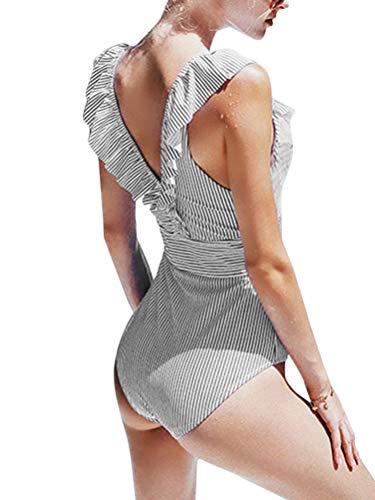 OranDesigne Damen Badeanzug Neckholder V-Ausschnitt Rückenfrei Einteiliger Bademode Sexy Gestreifter Bikini Badeanzug mit RüschenSchwarz DE 42
