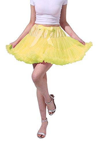 Poplarboy 50er Jahre Kurz Vintage Retro Unterrock Rock Ballett Blase 50er Tutu Petticoat für Hochzeit und Party L-XL Narzisse