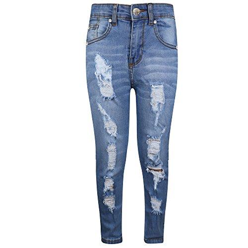 A2z 4 kids® bambini elasticizzati jeans ragazzi jeggings strappato - b.j skinny light blue 9-10