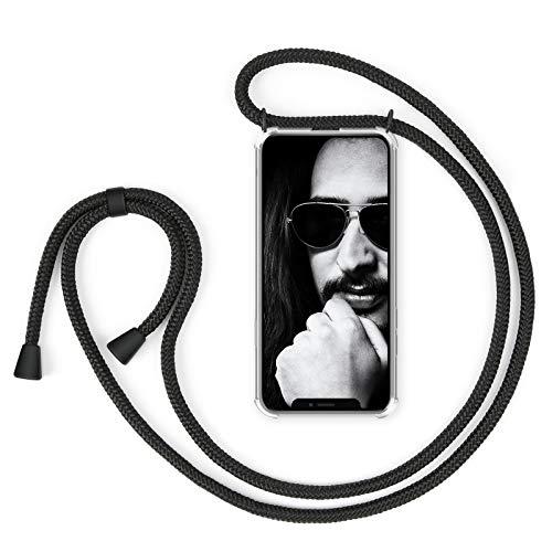 """ZhinkArts Handykette kompatibel mit Apple iPhone X/iPhone XS - 5,8\"""" Display - Smartphone Necklace Hülle mit Band - Schnur mit Case zum umhängen in Schwarz - Schwarz"""