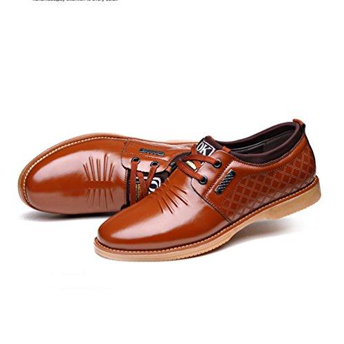 Printemps Mode Business Loisirs Chaussure Homme Chaussure en Cuir Souple Chaussure à Lacet Derby Jaune