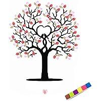 Omkuwl DIY boda firma huellas dactilares árbol invitados libro de pintura de lienzo con un Inkpad