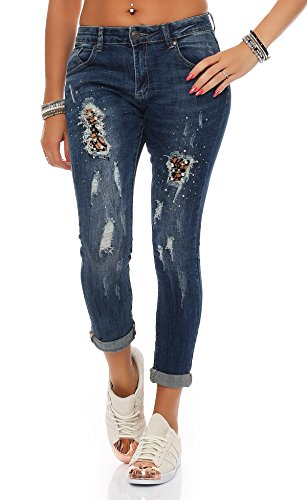 SKUTARI Damen - Boyfriend Jeanshose Destroyed (D40/L, Blau 3) (Boot-camp-logo)