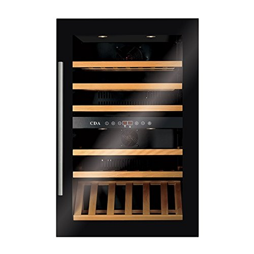 CDA FWV901BL Integrated 90cm High Built-In Dual Zone Wine Cooler In Black
