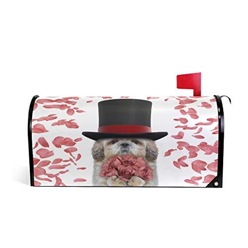 ALAZA Vanlentines Shitzu-Hund mit Rosen, magnetischer Briefkastenabdeckung, Übergröße, 64,5 x 52 cm 20.8x18 inch Standard Size Multi (Hund Halloween Ideen)