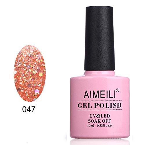 AIMEILI UV LED Gellack ablösbarer Nagellack Gel Polish - Diamond Glitzer Pinch of Peach (047) 10ml