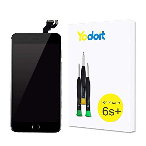 Yodoit Ersatzbildschirm Für LCD Touchscreen Digitizer Display für iPhone 6s Plus vormontiert mit Home Button, Hörmuschel, Frontkamera& Näherungssensor Komplett Reparaturset mit Werkzeuge (Schwarz)