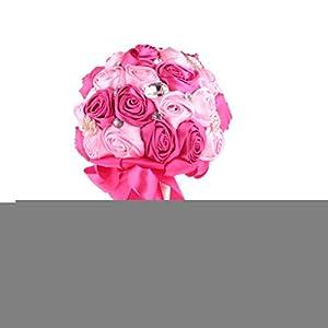 LOVIVER Ramo De Novia De Seda Artificial para Novias Mano De Dama De Honor con Flores Rosas – Blanco Azul, Individual