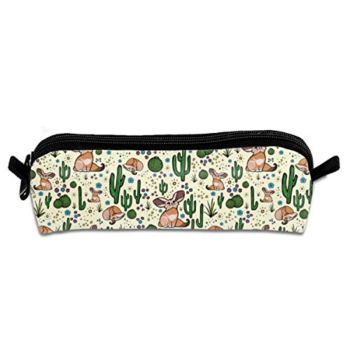 Fennec Foxes Pencil Pouch Bag Stationery Pen Case Makeup Box with Zipper Closure 21 X 5.5 X 5 cm - Fox-stitch
