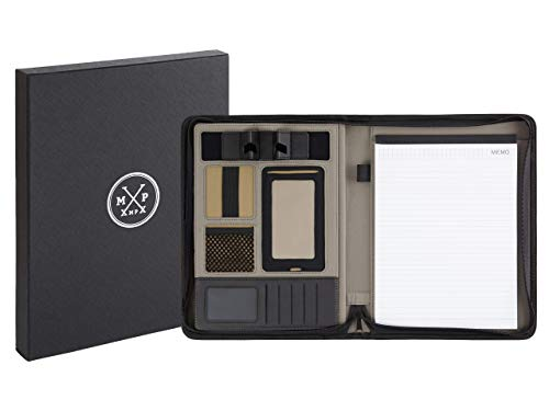 XMPX® - Schreibmappe DIN A4 mit Tablet/Smartphonehalterung & Schreibblock - aus hochwertigem Kunstleder - 2 Seitenfächer für Unterlagen & Tablet- Inklusive kostenlosem Stil-Ratgeber.