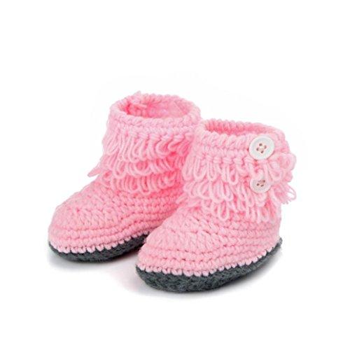 Baby Schuhe,Xinan Baby Mädchen Strick Hoch-Spitze Hohe Stiefel (3-12 months, Rosa)