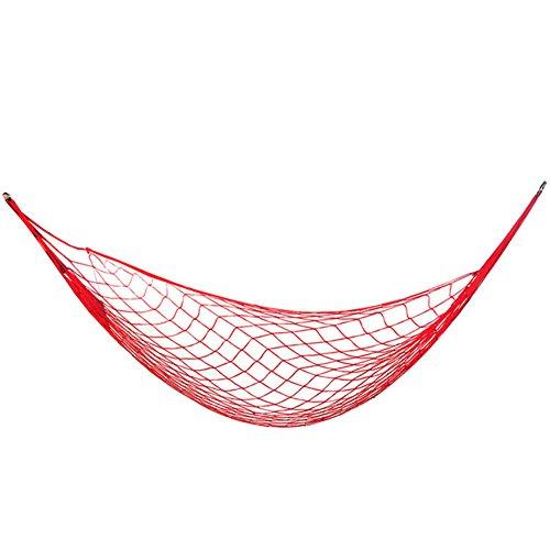 Geshig-Outdoor Tragbare Nylon-Netz-Hängematte zum Aufhängen von Camping, Wandern, Schlaf-Zubehör, rot