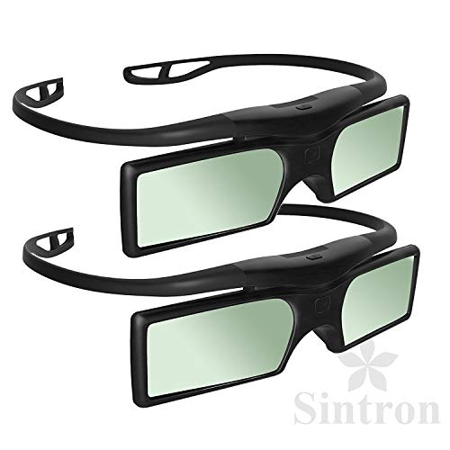 Sintron] 2X Universal 3D RF Aktive Shutter Brille Glasses Bluetooth Eyewear Glasses for 2014~2018 Sony 3D TV & 3D Projektor Kompatibel mit TDG-BT500A TDG-BT400A (2 Pairs), Black, 27g