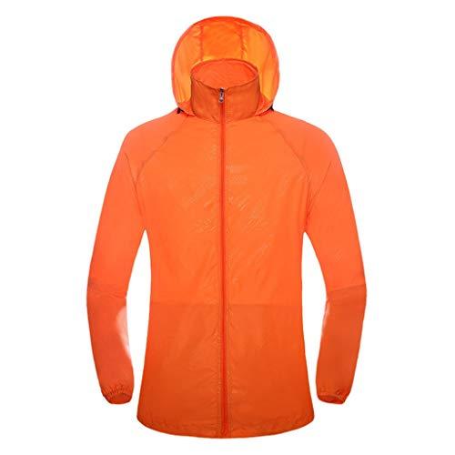 WERVOT Sonnenschutzbekleidung für Unisex Outdoor-Bekleidung Sporthaut Windjacke Schnell trocknende Bekleidung Reitanzüge Sonnenschutzbekleidung(Orange,XXXL) Street Cord