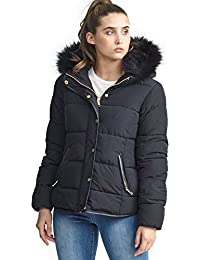 MISSY New Womens Ladies Quilted Winter Coat Puffer Fur Collar Hooded Jacket Parka Size Hoppjkt