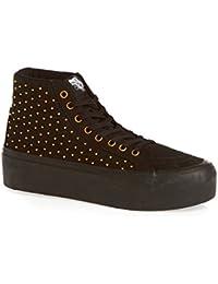 Vans SK8 HI PLATEFORM STUDDED Black Gold Canvas Women Sneakers Shoes