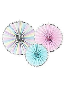 PartyDeco Paquete de 3 rosetas de Colores Pastel Redondos de Papel, Multicolor, RPK11
