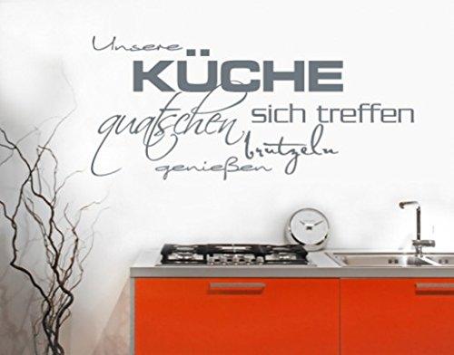 Preisvergleich Produktbild Wandtattoo Unsere Küche wal203 Wandaufkleber Wandsticker Küche 100 x 45 dunkelgrau