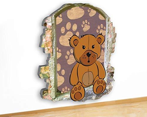 (N128 3D-Bild, Motiv Teddybär-Pfoten auf Leinwand, 51 x 58 cm, XL (64x73cm))