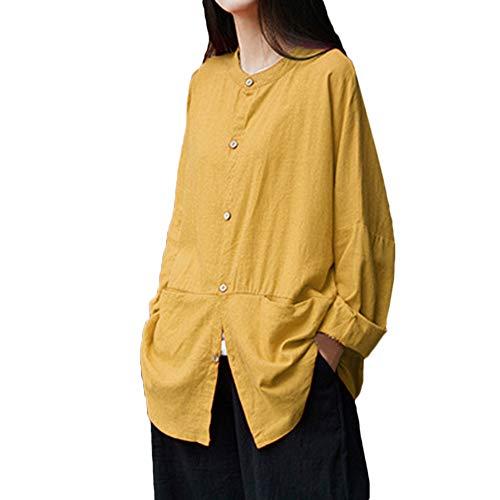 MRULIC Damen Leinen Gemütlich Leinen Dünnschnitt Lose langärmelige Bluse T-Shirt Pullover(Y4-Gelb,EU-46/CN-2XL) -
