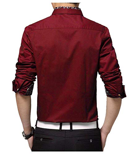 IndoPrimo Men's Cotton Casual Fancy Shirt for Men Full Sleeves (Red, Medium - 40)