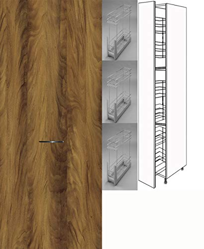 Premium-Ambiente CHE107 Hochschrank Apothekerschrank 207cm hoch Vollauszug Softclosing FE (Breite 20cm, 38 Ribera Nussbaum)