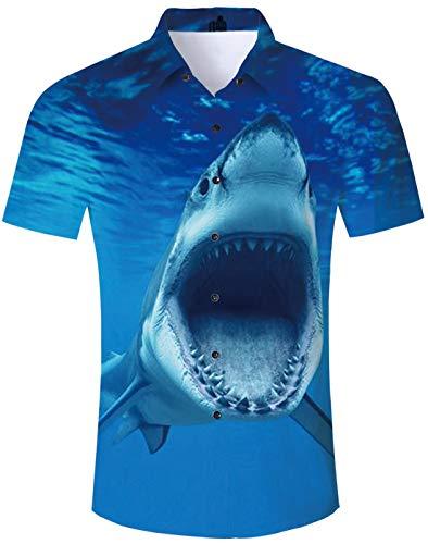 TUONROAD Short Sleeved Shirts for Men 3D Lovely Shrak Pattern Shirt Multicoloured Printed Shirts Button Dowm Causal Work Shirt Light Funny Birthday Party BBQ Hawaiian Theme Shirt Men Boys Blue - XXL