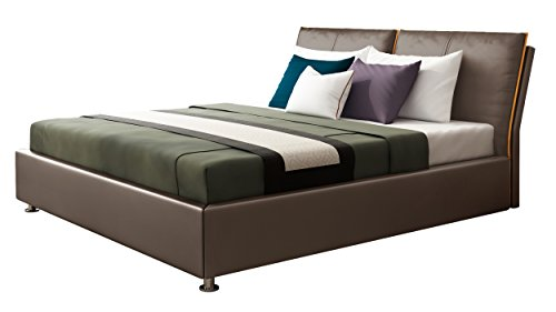IQ Bed Modell Orlando Polsterbett, nuss, 200 x 160, Kopfteil 103 cm hoch