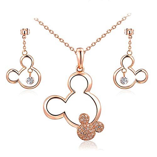 Newin Star Plaqué Or Rose Mickey Mouse Collier Boucles d'oreilles en Cristal Accents Minnie Mous