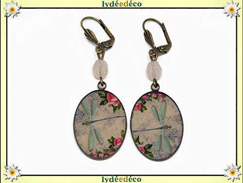 Retro Harz Ohrringe Libellules Blume altrosa rosa grün blau pastellfarben Messing Bronze Glasperlen personalisiertes Geschenk Weihnachten Muttertag Hochzeit Jubiläum Hochzeit Gäste Herrin
