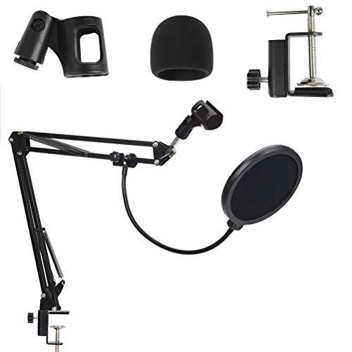 OFNMY Staffa regolabile per microfono professionale regolabile con pinzette con filtro anti-pop per lo Snowball Blue Yeti, registrazioni, canto