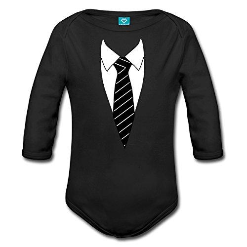 Krawatte Kostüm Witzig Baby Bio-Langarm-Body, 68 (3-6 M.), Schwarz (Bio Anzug Kostüm)