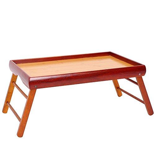 juvale Abendessen Tablett-Holz Frühstück im Bett, faltbar, tragbar mit TV-Tisch mit Ständer-52,1cm