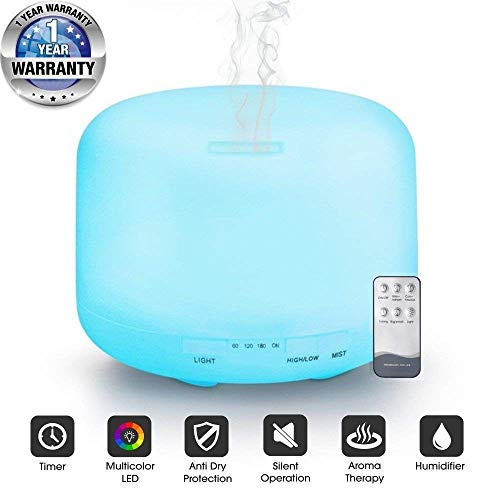 Tesco Air Mist Humidifier Aroma Essential Oil Diffuser With Remote Control Multicolor LED Lights 300ml Tank Ideal For Home Office Spa Baby Room