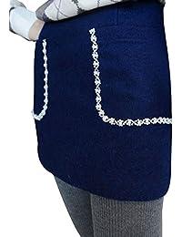 Sourcingmap Ladies Rhinestone Decor Side Zipper Pockets Mini Skirt