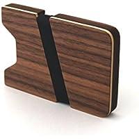 Kreditkartenetui aus Holz Kreditkartenhalter Kreditkarten Etui Etuis Kreditkartenhülle wood Kreditkartenaufbewahrung mit Geldklammer Portemonnaie Brieftasche Geldbörse -Nussbaum