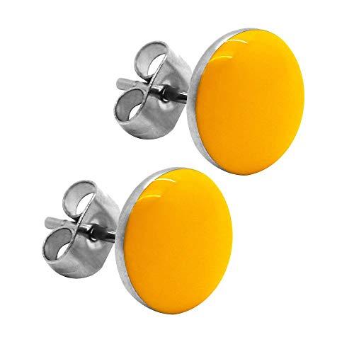 tumundo 2 Ohrstecker Ohrringe Rund Ohr-Schmuck 10 mm Fake-Plugs Piercing Set Silbern Damen Herren Cheater Edelstahl, Farbe:gelb