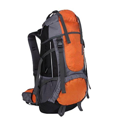 55L Im Freien Wandern Rucksack Große Kapazität Bergsteigen Taschen Rucksäcke Männer Und Frauen,Red Orange