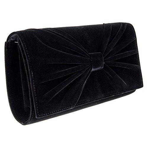 Zarla da donna in finta pelle scamosciata, con fiocco da sera-Borsetta da ragazza a tracolla, pochette Nero (nero)