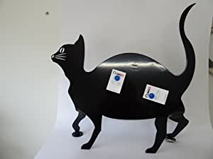 Porte-post-it cartes de table chat noir brillant métal