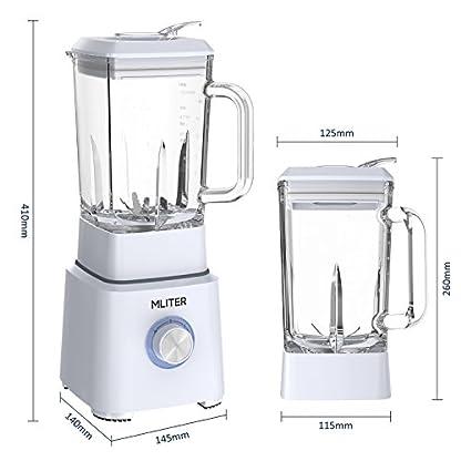 MLITER-Standmixer-Smoothie-Maker-800-Watts-Leistung-16L-Glas-Behlter-BPA-frei-Scharfe-6-Fach-Edelstahlmessereinheit-2-Geschwindigkeiten-mit-Puls-Ice-Crush-Funktion-Wei