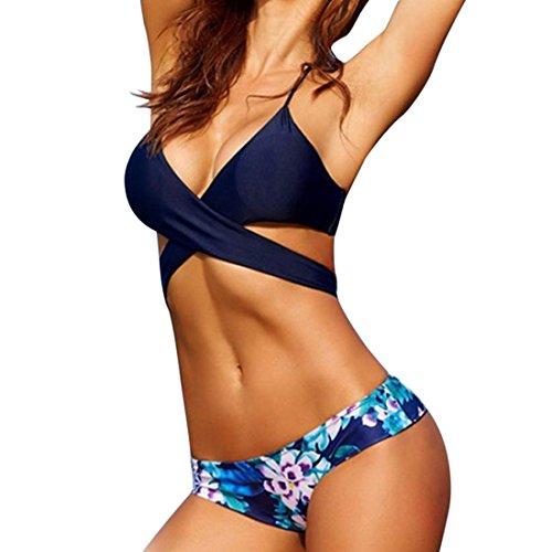 Rcool Para Mujeres Traje de Baño de Bikini Conjunto de Push Up Acolchado de Sostén Ropa de Baño Beachwear Swimsuit Swimwear Dos Piezas (M, Azul)