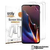 Orzly Protection d'Écran OnePlus 6T, 10in 1, Multi Pack, 10 Film de Protecteurs d'Écran en Pet pour One Plus 6T, Compatible avec Le Scanner d'Empreinte Digitale, Anti-Rayures, Transparent
