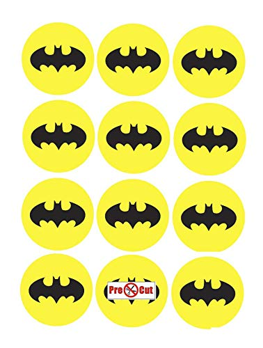35 x Pre Cut Batman Logo Kuchen, Cupcake Topper/Dekoration Essbar Wafer Papier