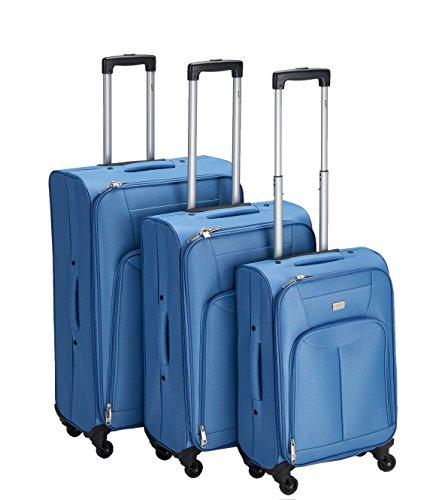 PURE Koffer-Set BASIC / Reisegepäck / Trolley klein-mittel-groß / Handgepäck / Weichgepäck / Reisekoffer / Superleicht / Vortasche / blau