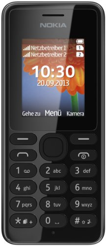 Nokia A00014805 108 Handy (4,6 cm (1,8 Zoll) QQVGA-Display, 160 x 128 Pixel, UKW-Radio, VGA Kamera ohne Blitz, Dual-SIM) schwarz